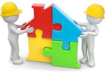 3d Männchen Puzzlehaus zusammenbauen