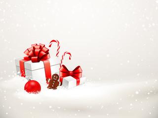 Verschneite Weihnachsgeschenke