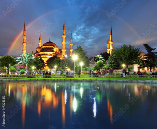 canvas print picture Istanbul with rainbow - Blue mosque, Turkey