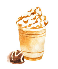 watercolor coffee in plastic cup