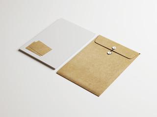 Set of white and kraft identity elements  on paper background