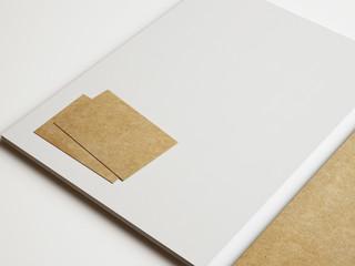Set of white and kraft branding elements