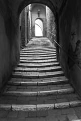Pitigliano, Tuscany, old city view. BW image