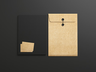 Set of black and kraft branding elements  on  black background