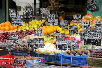 Waren am Obst und Gemüse Markt