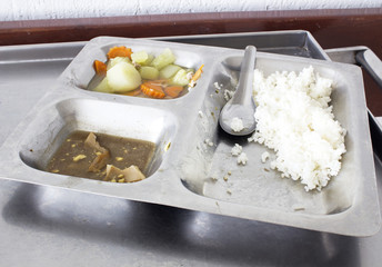 Leftover food in aluminum  tray .