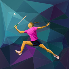 Abstract triangle style female badminton player