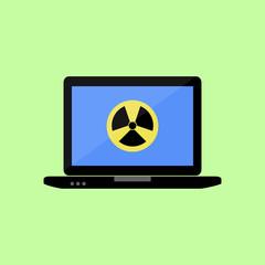 Flat style laptop with virus icon