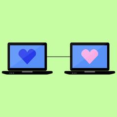 Virtual love, flat style