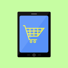 Flat style touch pad with shopping cart
