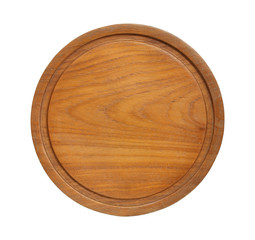 Round wooden cutting board isolated on white background