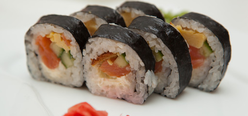 California roll over the white background