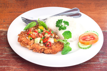 Fried pork with basil on jasmine rice