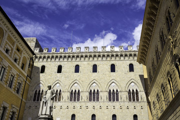 Siena, Tuscany, old palaces. Color photo