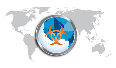 Western Africa map close up with biohazard sign
