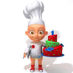 Baby Jake chef with birthday cake