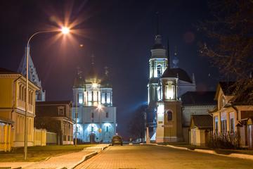 Успенский Кафедральный собор и Соборная колокольня. Коломна Ночь