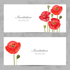 invitation cards with a red poppy for your design