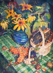 oil painting, flowers, still life