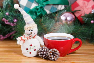 Christmas card with coffee and snowman