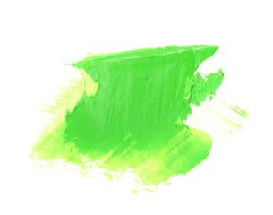 green grunge brush strokes oil paint isolated on white