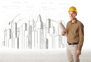 Engineer man with building city drawing in background