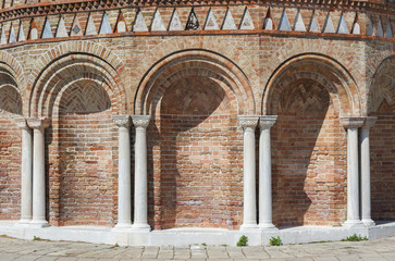 Luxurious wall with graceful columns and arches in Venice, Italy