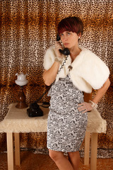 Dressed phoning woman - retro style