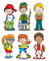 Group of six fun kids characters