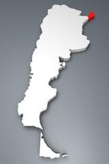Misiones provincia Argentina mappa 3d