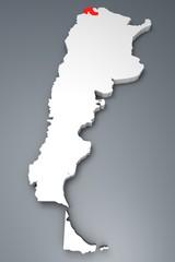 Jujuy provincia Argentina mappa 3d