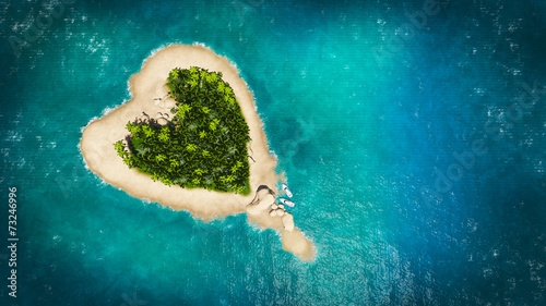 Leinwanddruck Bild  heart island