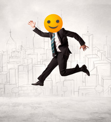 businessman wears yellow smiley face