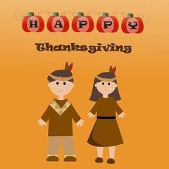 Happy Thanksgiving with children in American Indian uniform