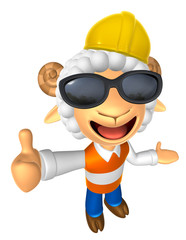 Wear sunglasses 3D Construction site Sheep mascot the left hand