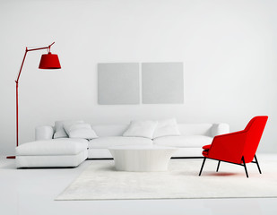 Contemporary white and red  living room with sofa