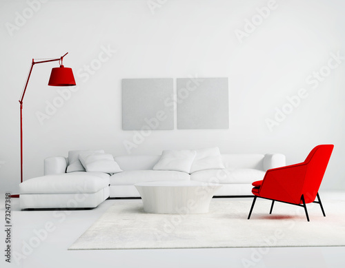 Contemporary white and red  living room with sofa - 73247388