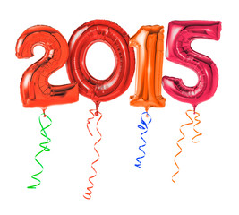 Rote Luftballons mit Geschenkband - Nummer 2015