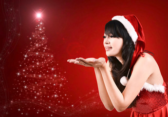 pretty women in santa outfit