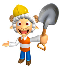 3D Construction site Sheep Mascot the left hand guides and the r