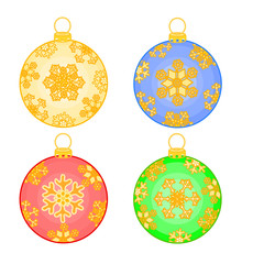 Christmas baubles with snowflakes vector