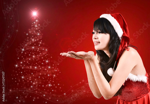 canvas print picture pretty women in santa outfit