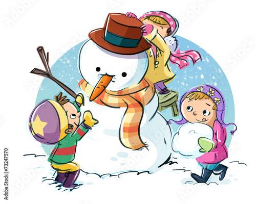 Leinwanddruck Bild niños con muñeco de nieve