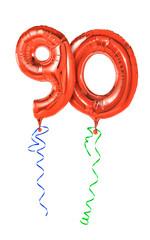Rote Luftballons mit Geschenkband - Nummer 90