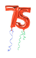 Rote Luftballons mit Geschenkband - Nummer 75