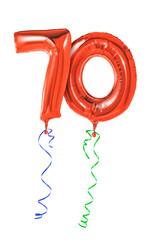 Rote Luftballons mit Geschenkband - Nummer 70