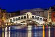 Night view of Rialto bridge and Grand Canal in Venice. Italy - 73248153