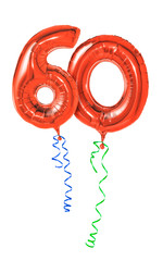Rote Luftballons mit Geschenkband - Nummer 60