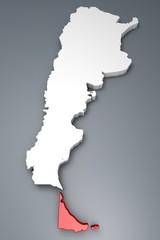 Tierra del Fuego provincia Argentina mappa 3d