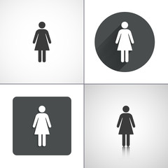 Woman icons. Set elements for design. Vector illustration.